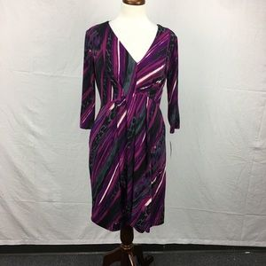 AGB Purple Print V Neck Dress